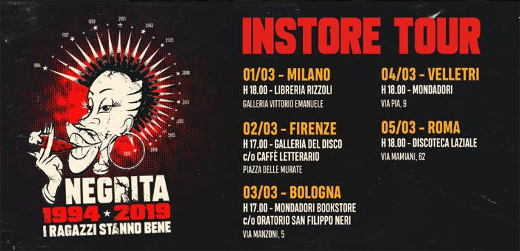NEGRITA il tour negli store con I RAGAZZI STANNO BENE 1994-2019