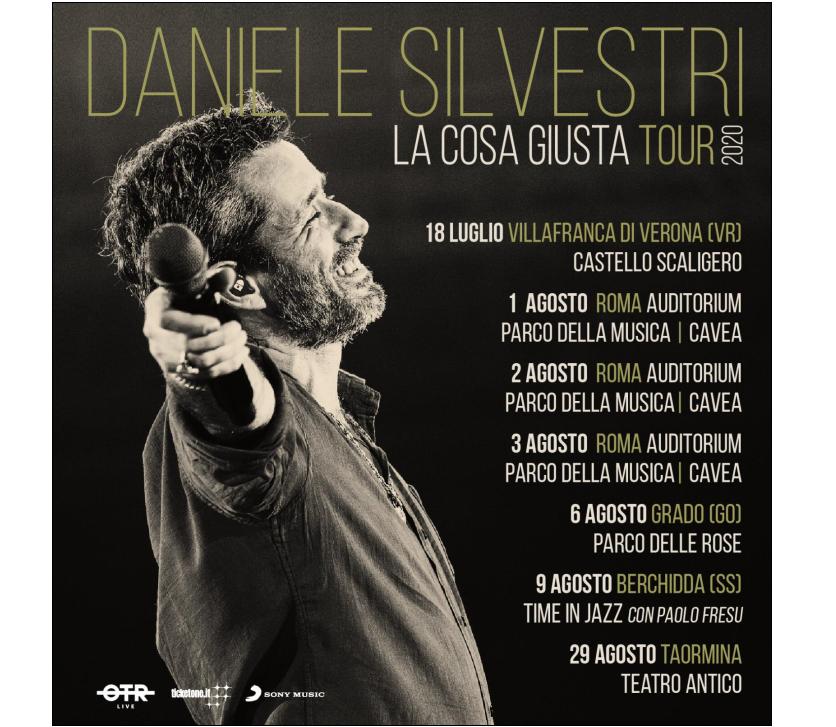 DANIELE SILVESTRI DAL 18 LUGLIO LA COSA GIUSTA TOUR